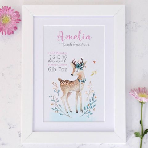 Personalised Baby Deer Birth Announcement Art